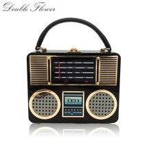 Double fleur rétro Radio noir acrylique femmes Top-poignée sacs fourre-tout sac à bandoulière sac à bandoulière dames étui rigide boîte dembrayage