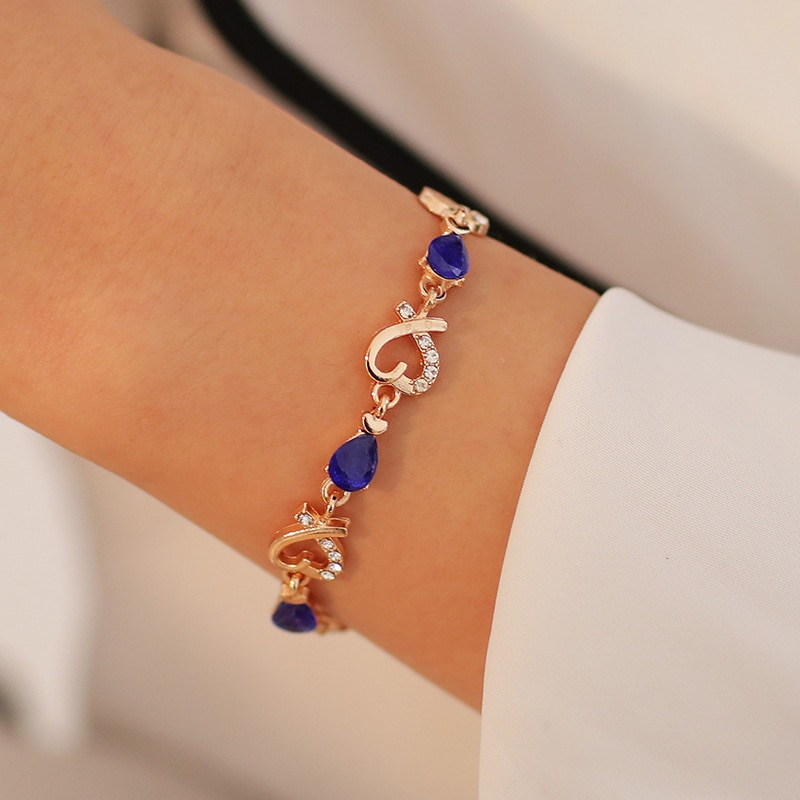 New 5 Colors Beautiful Bracelet for Women Colorful Austrian Crystal Fashion Heart Chain Bracelet For