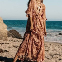 Luxo longo mar praia envoltório vestido elegante maiô cobrir rosa rendas túnica praia sarong plage robe kaftan mulher tunika a67