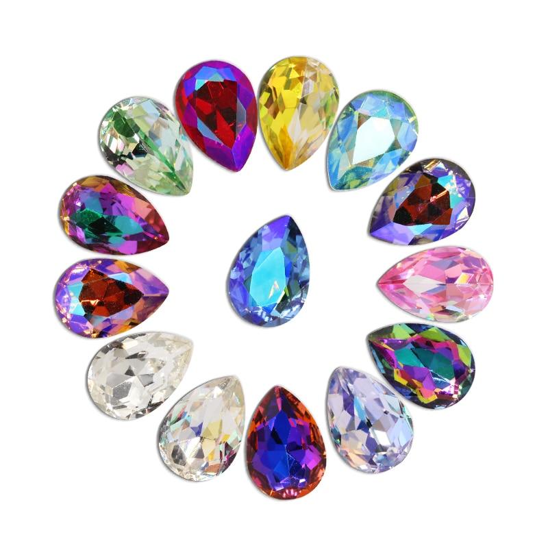 50 unids/lote 3D arte De uñas De diamantes De imitación De Color brillante De diamantes De imitación gema 3D Cristal De piedra para Nail Art De diamantes De oro De manicura De