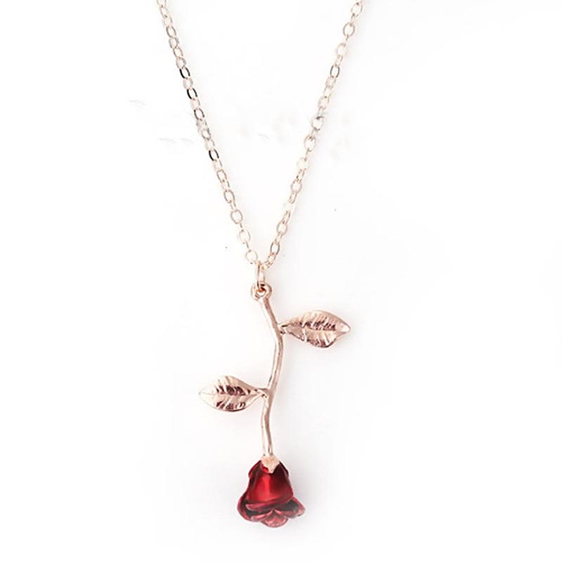 "DoreenBeads Trendy Enamel Necklace For Women Girl Rose Gold Color Red Rose Flower Pendent 50cm(19 5/8"")-45cm(17 6/8"") long 1 Pc"