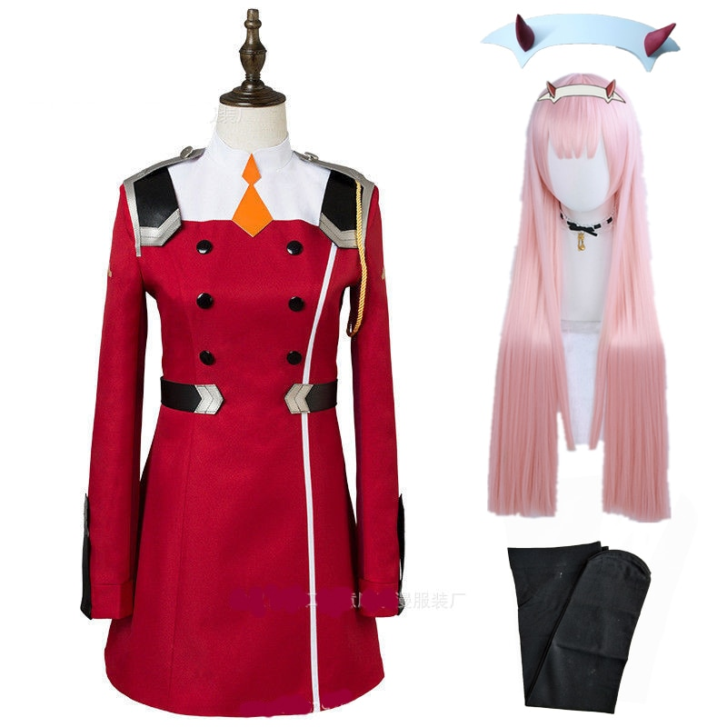 02 Zero Two Cosplay Costume DARLING in the FRANXX Cosplay DFXX Women Costume Full Sets Dress Headwea