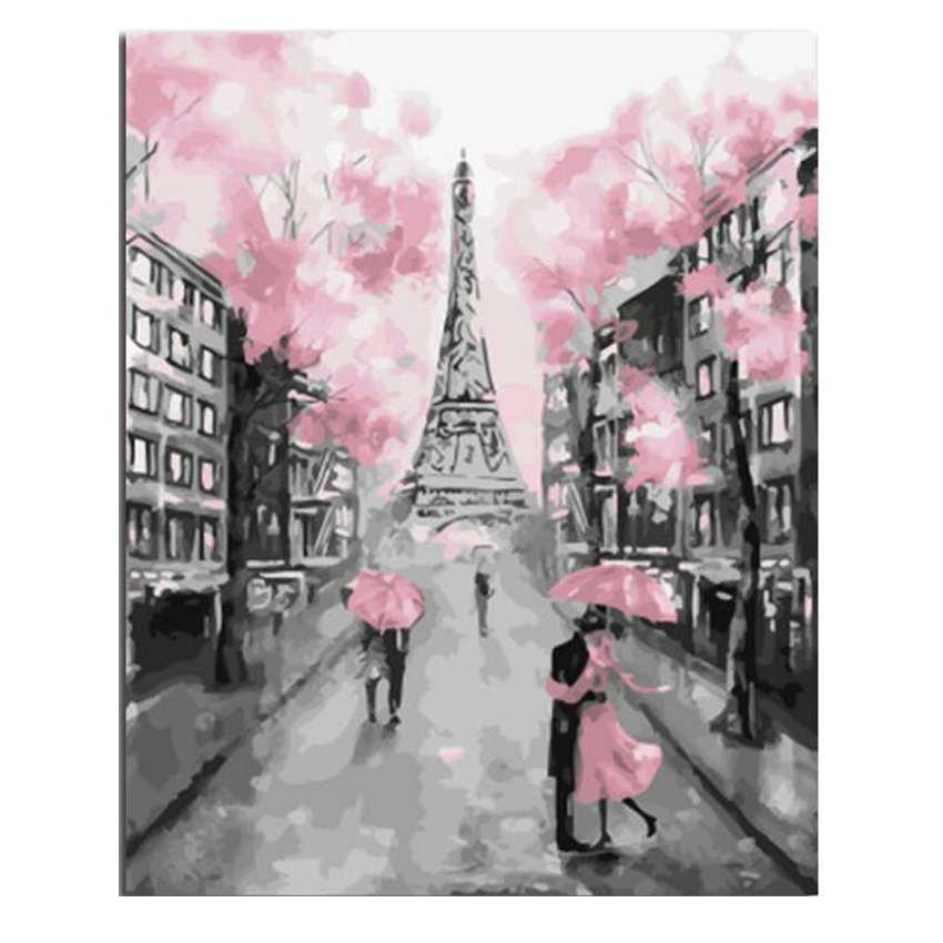 Pintura DIY con torre y flores de Londres por números, pintura en lienzo para sala de estar, imagen de decoración de pared, pintura por números 16x20 pulgadas