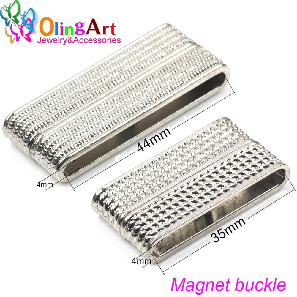 OlingArt 48/37/32MM 2 uds. Cierres magnéticos rectangulares de 2 filas de ganchos plateados para collar, accesorios de joyería DIY