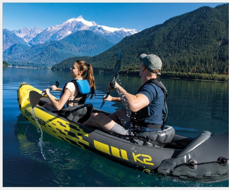 312cm Inflatable Two Person Kayak Sit in Fishing Kayak Double Paddle Floating Air Drifting Boat for River Lake Sea