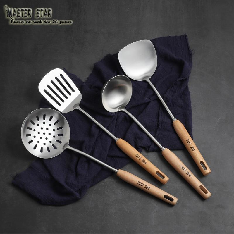 ماطر نجمة الفولاذ المقاوم للصدأ أدوات الطبخ مجرفة ملعقة مكافحة السمط الزان مقبض المطبخ تجهيزات المطابخ جزء 3 قطعة/المجموعة