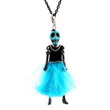 Recién llegado, colgante de muñeca de baile hecho a mano de París, collar de calavera de Halloween, collar de moda para mujeres, collar de Pluma azul, dijes