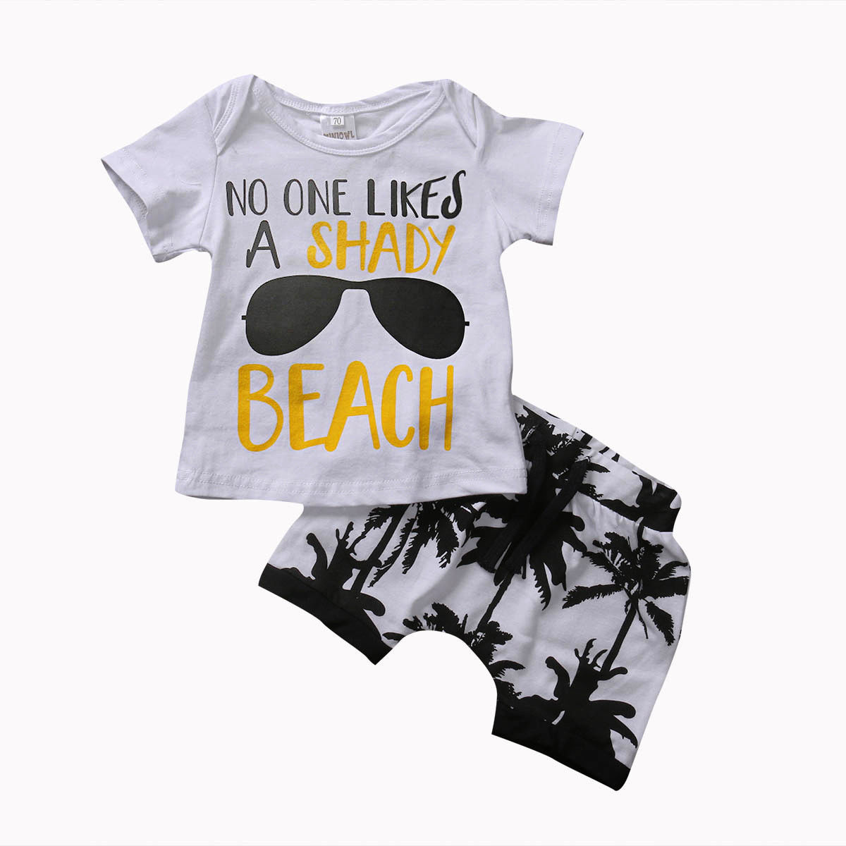 Лето 2017 г., комплект одежды из 2 предметов для новорожденных мальчиков, футболка Топ + кокосовые шорты с рисунком деревьев, комплект одежды, От 0 до 3 лет