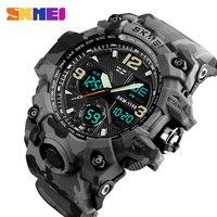 Часы наручные SKMEI Мужские кварцевые аналоговые, роскошные спортивные светодиодные цифровые водонепроницаемые в стиле милитари, с двойным д...