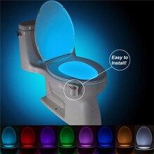 JIGUOOR Sensore sedile Wc LED Della Lampada Della Luce di Movimento Umano PIR Attivato 8 Colori Automatico RGB luce di Notte modulare touch luci