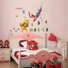 Autocollant mural dessin animé   Mignon, dessin animé amusant, Winnie lourson, arbre de tigre, décoration de maison pour enfants, chambre à coucher, animaux magasin, décoration murale, art