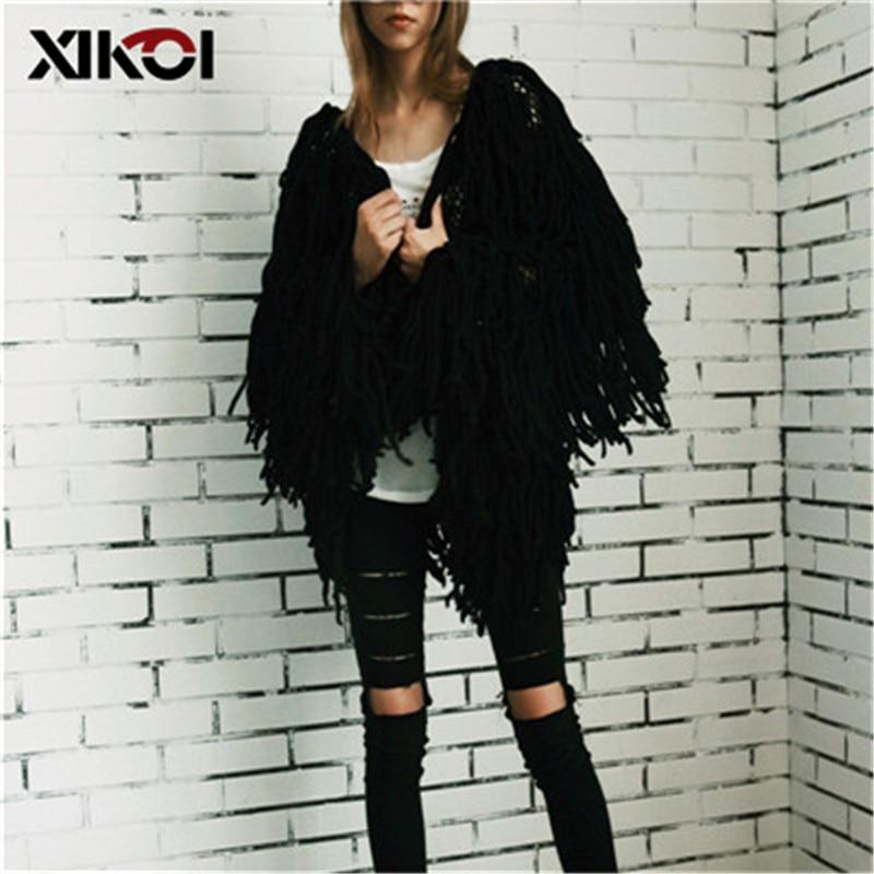 XIKOI Chic Warm knitting shaggy white cardigan Women sweater soft black female jacket coat Autumn winter hairy faux fur coat