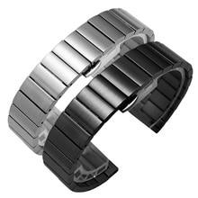 Solid Stainless Steel Watch Band Bracelet 16mm 18mm 20mm 22mm Silver Black Brushed Metal Watchbands Strap