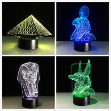 Antigo Egito Anubis 3D Lâmpada LED Night Light Illusion 7 Cores Mudaram Xmas Presente Brinquedo Luz USB Home Amigos Presente decoração do Navio Da Gota