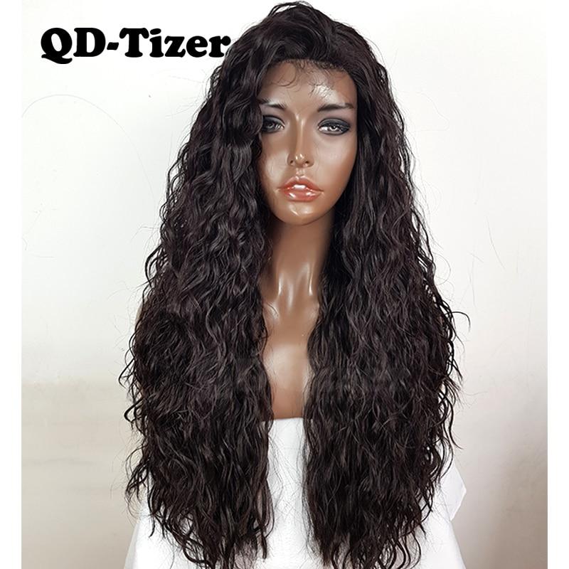 QD-Tizer الدانتيل شعر مستعار أمامي الشعر اللون #4 طويل فضفاض مجعد افريقى الاصطناعية الدانتيل شعر مستعار أمامي حليقة للنساء