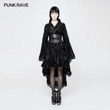 Punk Rave Frauen Gothic Sexy Lolita Japan Kimono Kleid Schwarz Floral Steampunk Jacke WLQ084