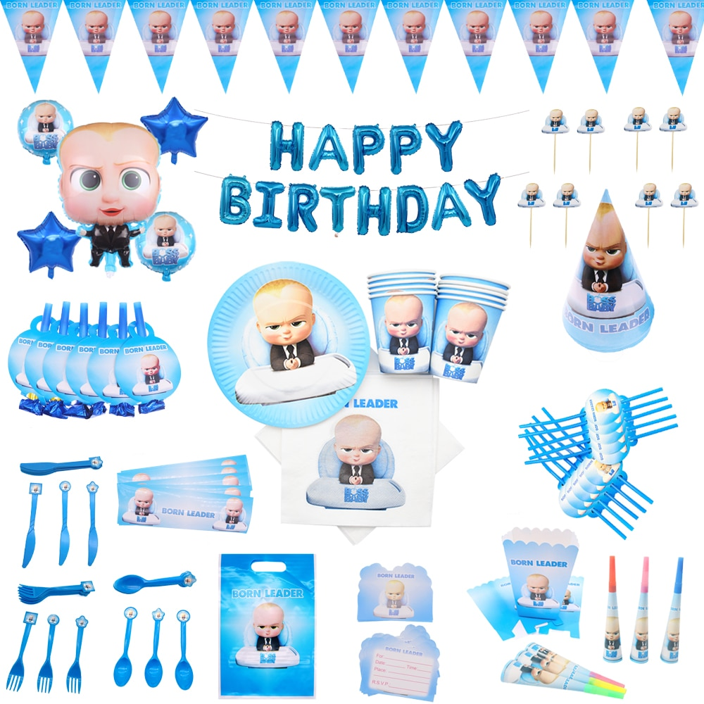 Boss baby Theme Birthday Party Decorations Kids Tableware Cup Plate Napkins cupcake Banner balloons Baby Shower Supplies