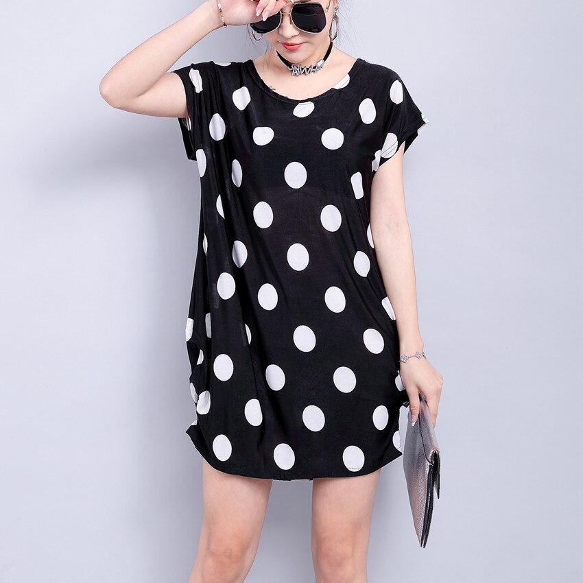 new 2019 summer spring Women dress short sleeve batwing sleeve Casual print tunic striped dresses S-XXL black dot polyester