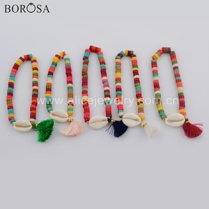 BOROSA 5PCS Handmade 8inch Natural Cowrie Shell Rainbow Tassel Beads Bracelet Jewelry Boho Style Charm Bracelet for Lady HD0073
