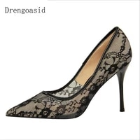 2019 summer new european and american sexy nightclub high heeled shallow mouth pointed mesh openwork lace women high heels