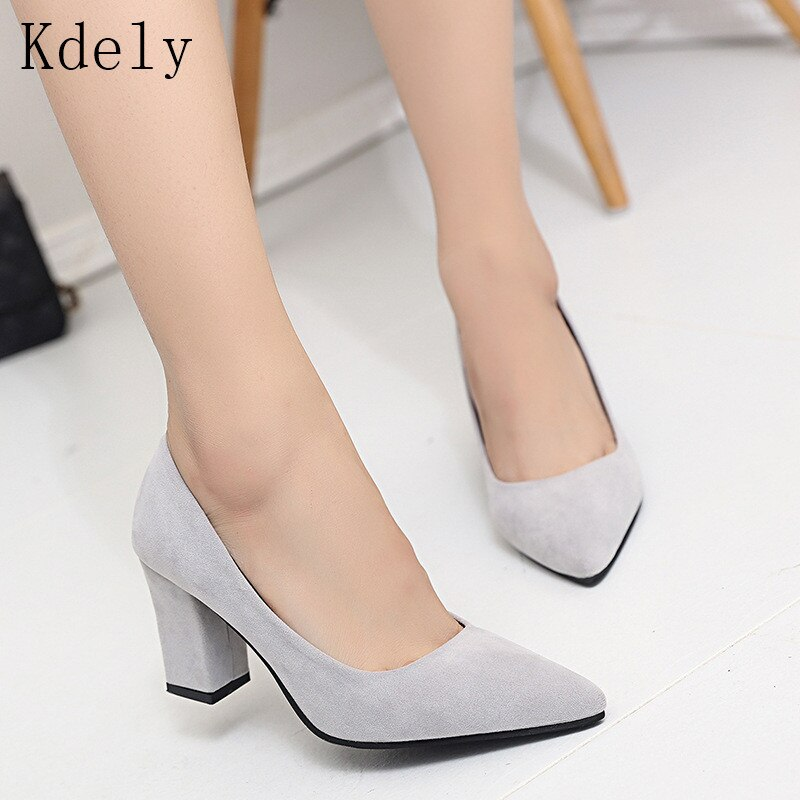 2019 Women Pumps Ankle Strap Thick Heel Women Shoes Square Toe Mid Heels Dress Work Pumps Comfortable Ladies Shoes Sandals 4.8