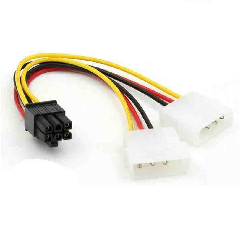ATX IDE Molex Power Dual 4-6-Pin PCI Express PCIe Кабель-адаптер для видеокарты профессиональная Прямая поставка 0630