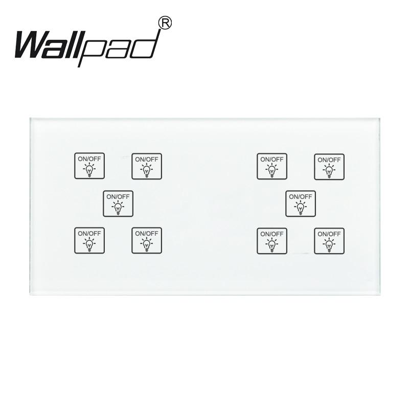 10 1 manera interruptor Wallpad 110-250V 172*86mm Panel de vidrio de cristal personalizar DIY 10 1 táctil Sensor de interruptor inteligente