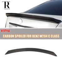 W204 V Style Carbon Fiber Rear Trunk Tail Lip Spoiler for Benz W204 C-CLASS Sedan 4 Door 2007 - 2013