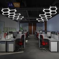 LED Nordic Iron Acrylic Hexagon DIY Chandelier Lighting Lamparas De Techo Suspension Luminaire Lampen For Dinning Room Office
