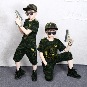 Military Training Boys Short Sleeved  Set Summer Camp 2019 New Children's Handsome teen-agers clothes size 110 120-140 150 160