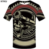 kyku military t shirt men black skull t shirt hip hop tee casual gothic 3d printed tshirt punk rock mens clothing streetwear top
