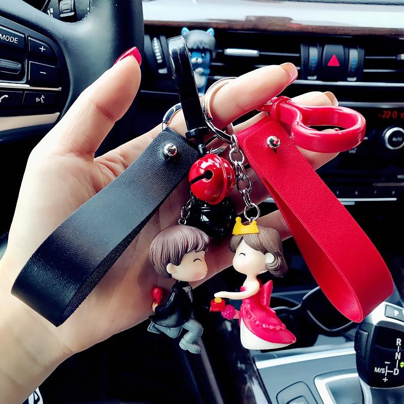 Version coréenne du mignon Couple de résine poupée porte-clés pendentif créatif dessin animé stéréo poupée porte-clés sac pendentif