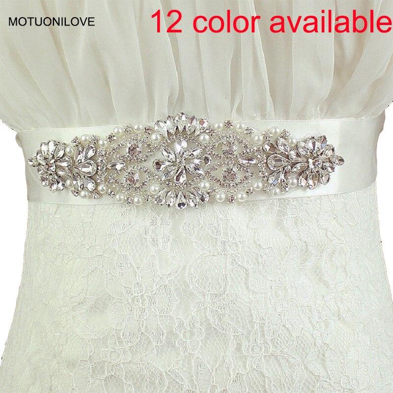 12 Colors Available Sparkle Crystal Belts for Wedding Dress Shinning Elegant Bridal Sashes Pearls Rhinestone Belt Evenings