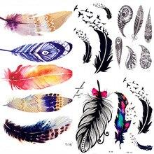 Été Style aquarelle plume oiseau temporaire tatouage femmes Tribal henné faux tatouage hommes corps bras Art dessin 3D Tatto autocollants