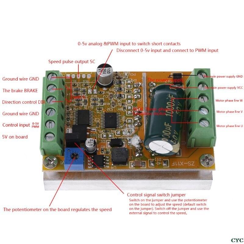Controlador de Motor sin escobillas 350W 5-36V DC controlador de Motor trifásico de alta potencia de amplio voltaje BLDC