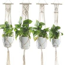 Porte-Pot à plantes en macramé   Corde de coton, panier de rangement suspendu avec bâton en bois de 6 pouces, décoration intérieure de la maison