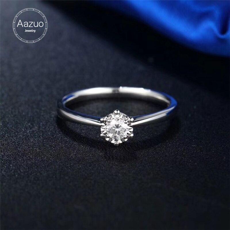 Aazuo 18K oro blanco Diamante Real 0.15ct H Si1 Floral flora seis garras anillo para mujer encanto joyería moda amor regalo Au750