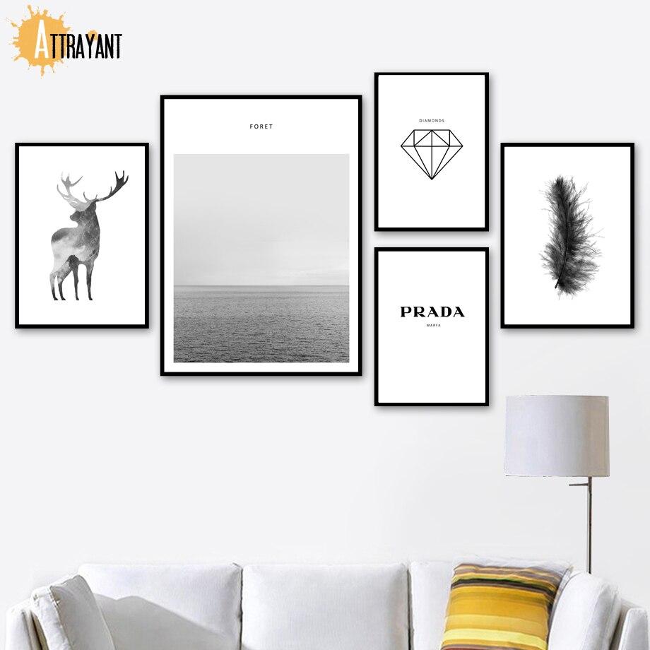Ciervo mar diamante pluma Prada cuadro sobre lienzo para pared carteles nórdicos e impresiones mosaico para pared de animales para decoración para sala de estar
