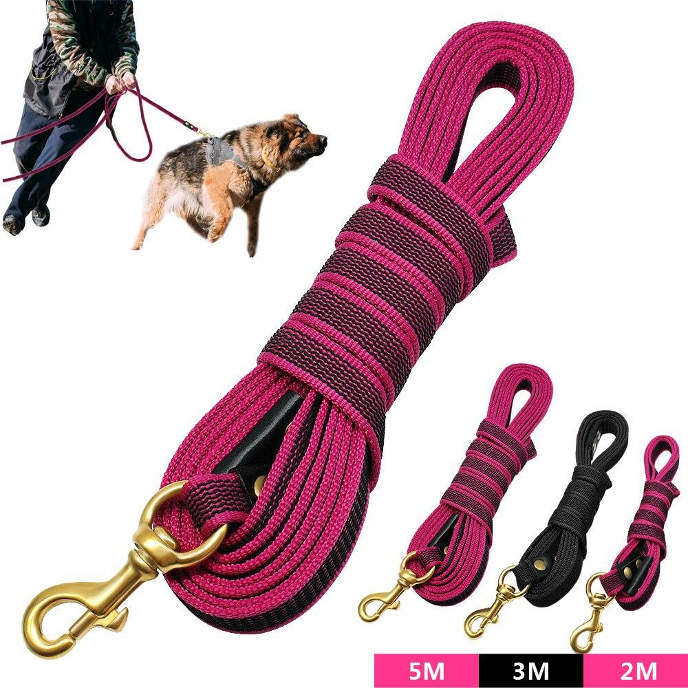 Long Dog Tracking Leash Non-Slip Nylon Training Leads Walking Leads 2m 3m 5m For Medium Large Dogs Heavy Duty