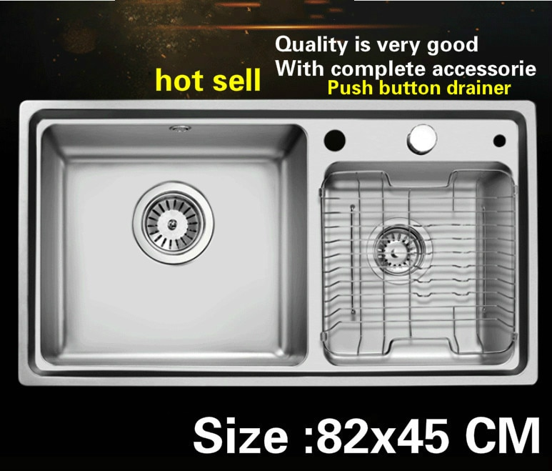 ¡Envío gratis! fregadero de cocina con doble ranura de vogue de acero inoxidable 304, gran oferta, 82x45 CM