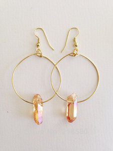 H-CE45 Boho Style Jewelry Peach Quartz Point  Hoop Earrings Silver or gold