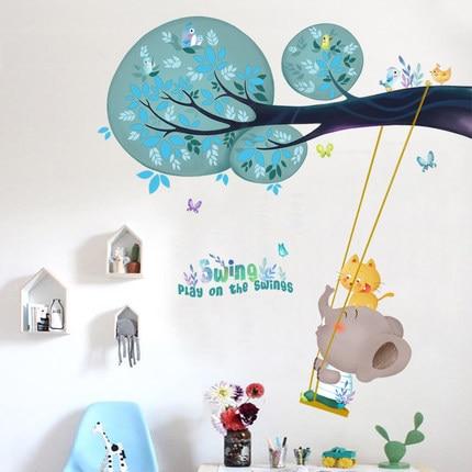 DIY Swing Elephant Kids Wall Sticker Cartoon Animal Baby Gift Childern Room Wall Decals Poster