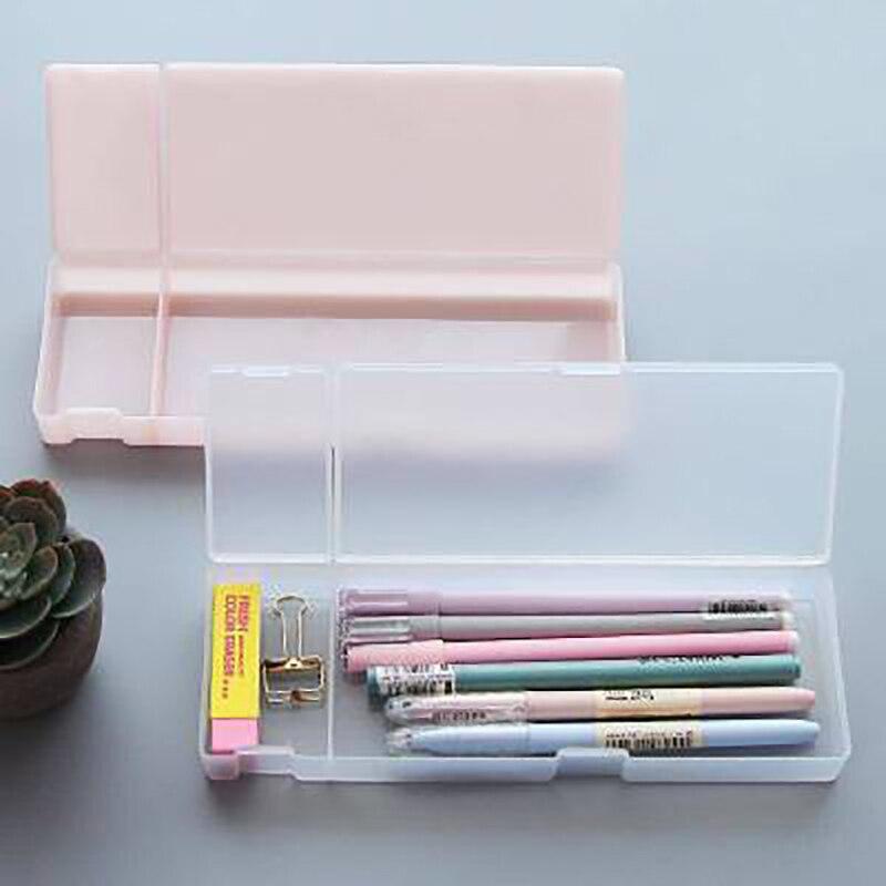 1 Uds Kawaii transparente Simple lápiz caso caja de almacenamiento de plástico de aprendizaje papelería de oficina y suministros de la escuela organizador de escritorio