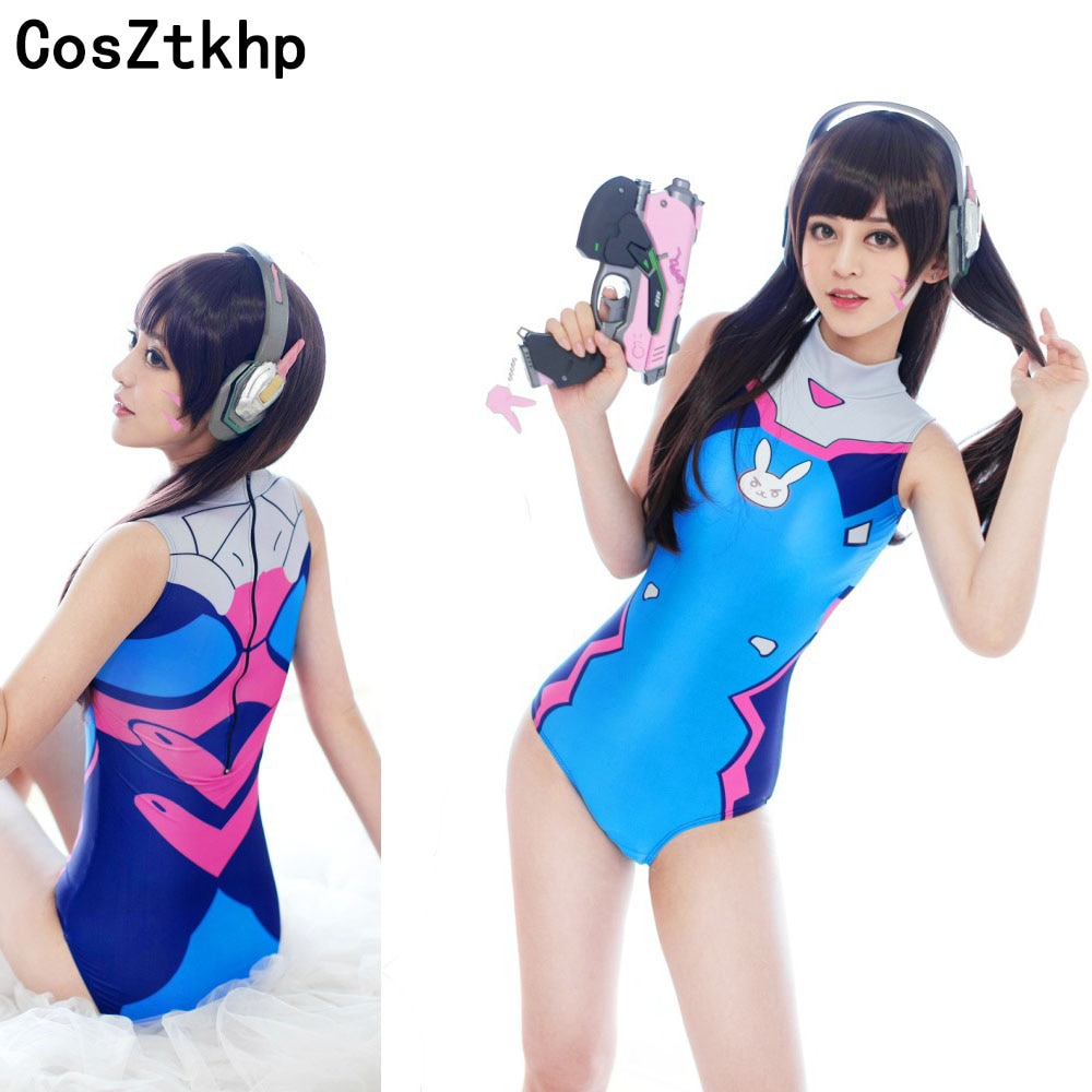 COSZTKHP Anime trajes Cosplay traje D VA SUKUMIZU Spandex traje de baño DVA disfraz Anime Cosplay Su Ku agua una pieza traje de baño