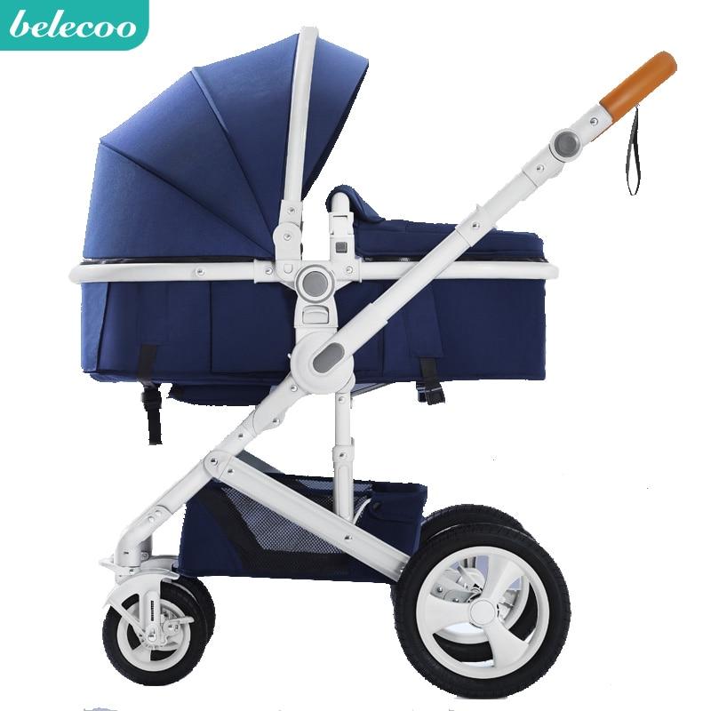 Envío Gratis cochecito de bebé Belecoo alto paisaje cochecito de bebé sentado y tumbado plegable de dos vías de absorción de choque de cuatro ruedas
