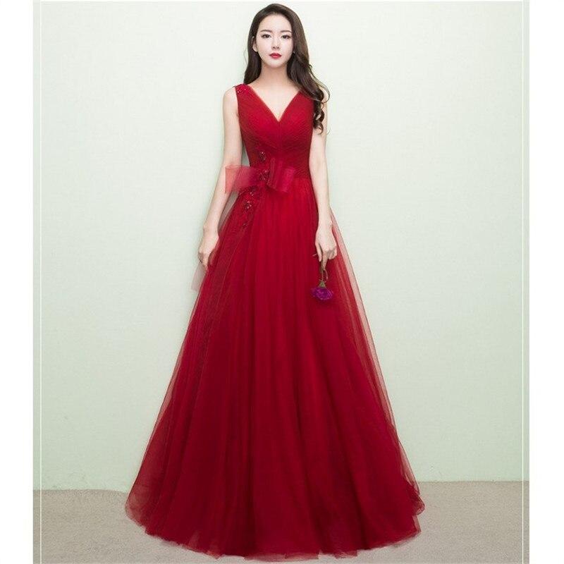 Vestido de fiesta rojo personalizado con cuello en V, vestido largo Formal...