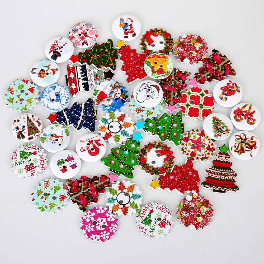 50 unids/lote botones de madera mezclados al azar diseño navideño para álbum de recortes botones decorativos mezcla de prendas accesorios para manualidades DIY