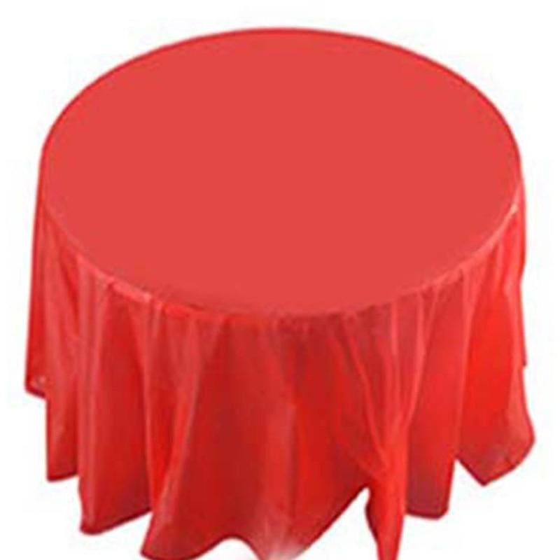 Mantel desechable redondo de plástico para bodas, cumpleaños, Picnic, mesa, suministros para fiestas, manteles desechables de diámetro 213cm