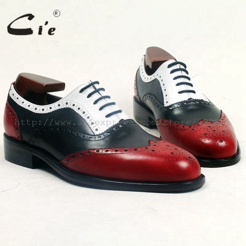 Cie جولة كامل تصليحه ميدالية الأحمر أسود أبيض مختلط اللون 100% جلد العجل تنفس اليدوية الرجال جلد حذاء ox500