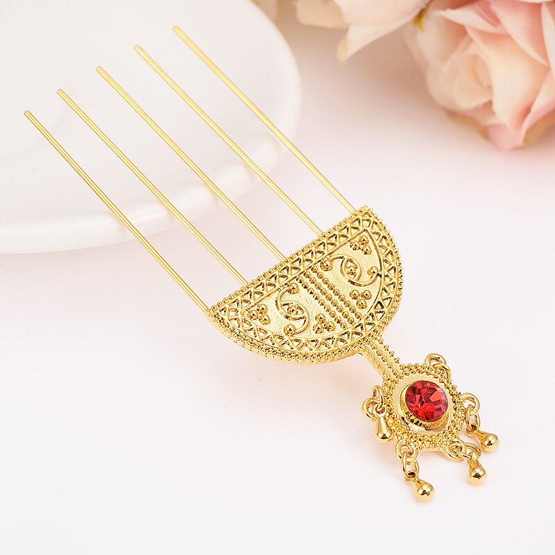 Äthiopischen kristall Haarnadel Schmuck Gold Farbe Äthiopien Haar Kämme Afrika Haar Pin/Eritrea/Kenia/Haar Klebt/Habasha